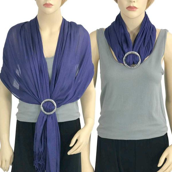 Shawl - Cotton/Silk #100 with Scarf Buckle Ring Deep Violet -