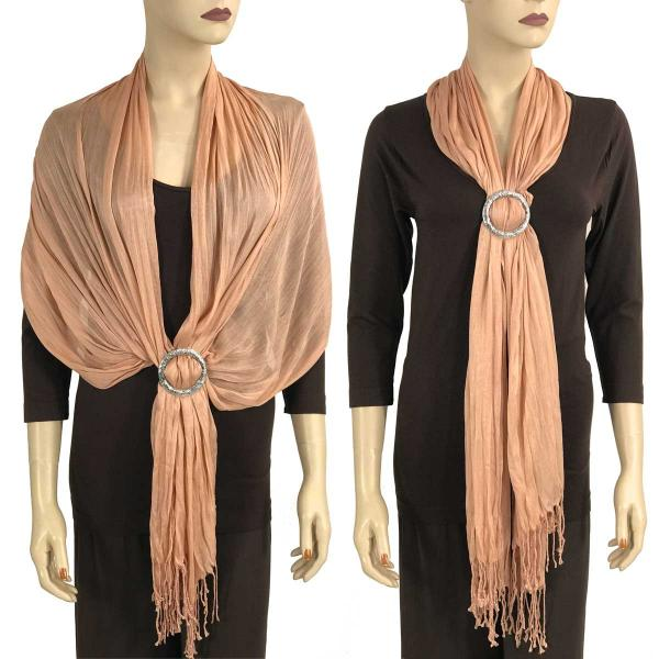 Shawl - Cotton/Silk #100 with Scarf Buckle Ring Indian Peach -