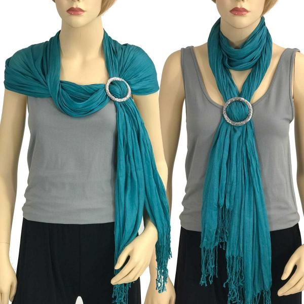 Shawl - Cotton/Silk #100 with Scarf Buckle Ring Teal -