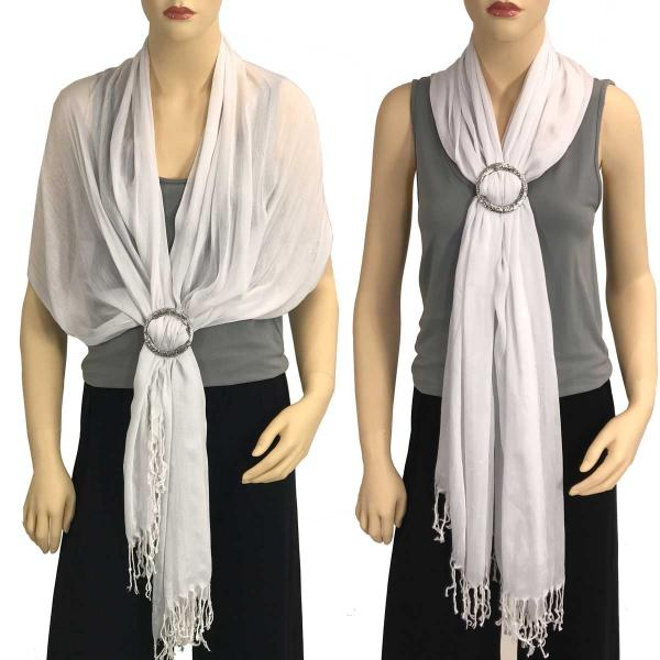 Shawl - Cotton/Silk #100 with Scarf Buckle Ring White -