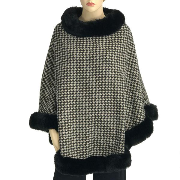 wholesale Poncho - Faux Rabbit Fur Trim LC12 Houndstooth w/ Black Fur -