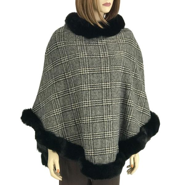 wholesale Poncho - Faux Rabbit Fur Trim LC12 Plaid w/ Black Fur -