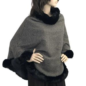 Metallic Print Shawls with Buttons Herringbone w/ Black Fur -