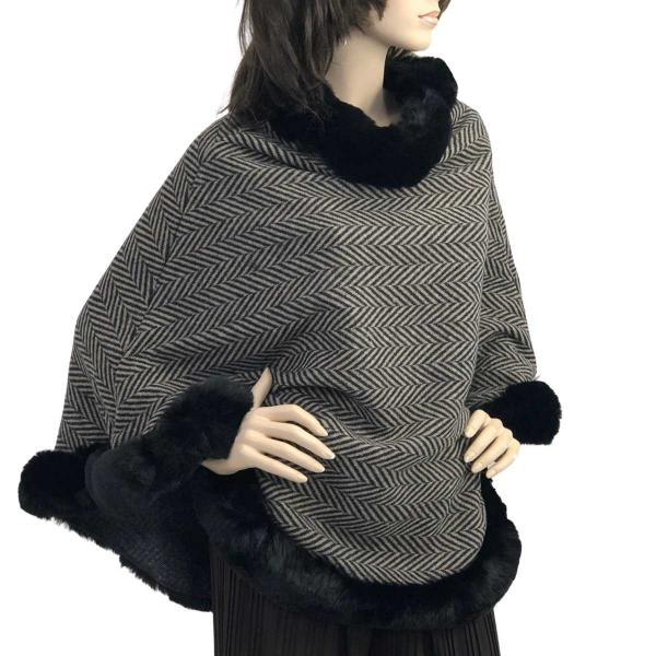 wholesale Poncho - Faux Rabbit Fur Trim LC12 Herringbone w/ Black Fur -
