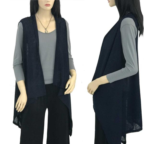 Jersey Knit Vests - Solid Color Texture 9718 Navy -