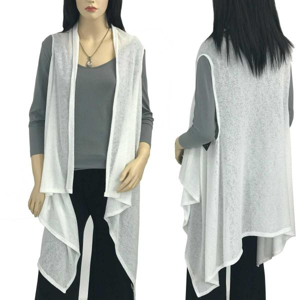 Jersey Knit Vests - Solid Color Texture 9718 White -
