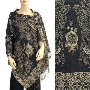 Metallic Print Shawls with Buttons Metallic Paisley Symmetry - Black-Beige #32 -