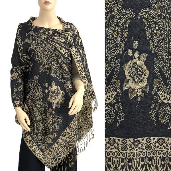 wholesale Metallic Print Shawls with Buttons Metallic Paisley Symmetry - Black-Beige #32 -