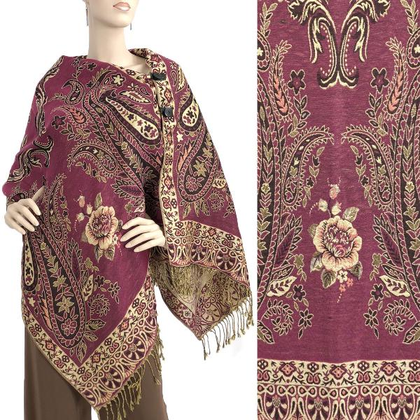 wholesale Metallic Print Shawls with Buttons Metallic Paisley Symmetry - Magenta-Beige #33 -