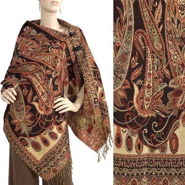 wholesale Metallic Print Shawls with Buttons Metallic Paisley Floral - Deep Burgundy-Gold #35 -