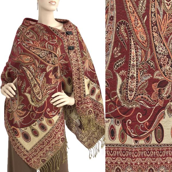 wholesale Metallic Print Shawls with Buttons Metallic Paisley Floral - Wine-Gold #36 -