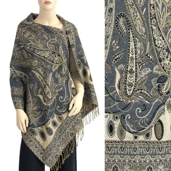 Metallic Print Shawls with Buttons Metallic Paisley Floral - Slate Grey-Gold #37 -
