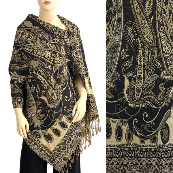 wholesale Metallic Print Shawls with Buttons Metallic Paisley Floral - Black-Gold #38 -