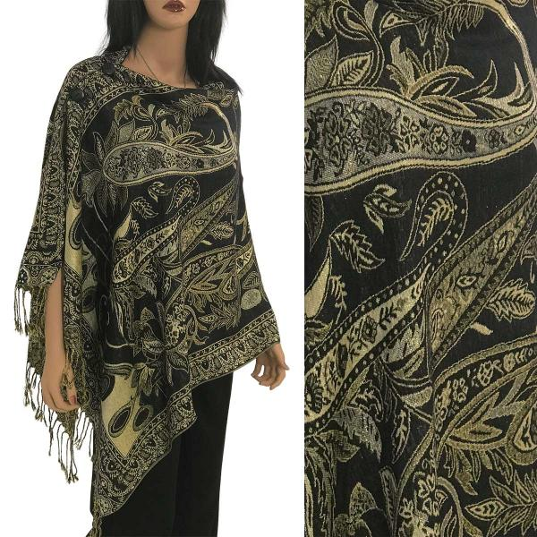 Metallic Print Shawls with Buttons Metallic Paisley Floral - Black-Gold #38 -