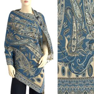 Metallic Print Shawls with Buttons Metallic Paisley Floral - Deep Teal-Gold #39 -