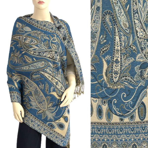wholesale Metallic Print Shawls with Buttons Metallic Paisley Floral - Deep Teal-Gold #39 -