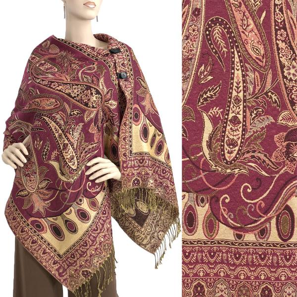 wholesale Metallic Print Shawls with Buttons Metallic Paisley Floral - Magenta-Gold #40 -