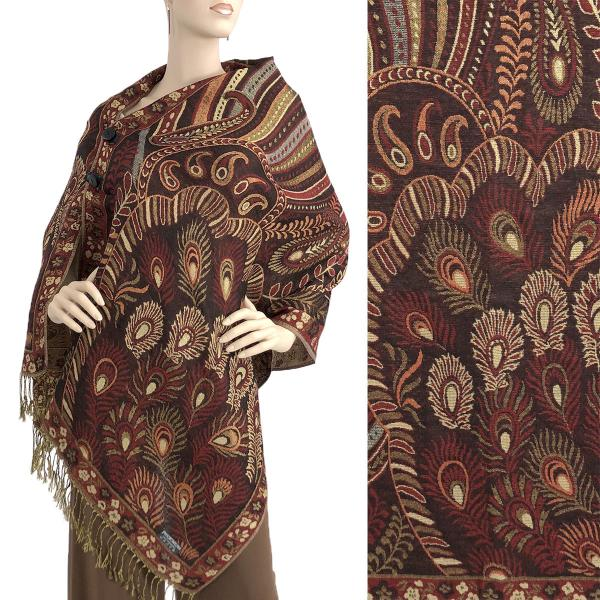 wholesale Metallic Print Shawls with Buttons Metallic Feathers - Brown-Gold-Burgundy #25 -