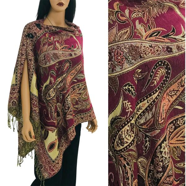 Metallic Print Shawls with Buttons Metallic Paisley Floral - Magenta-Gold #40 -