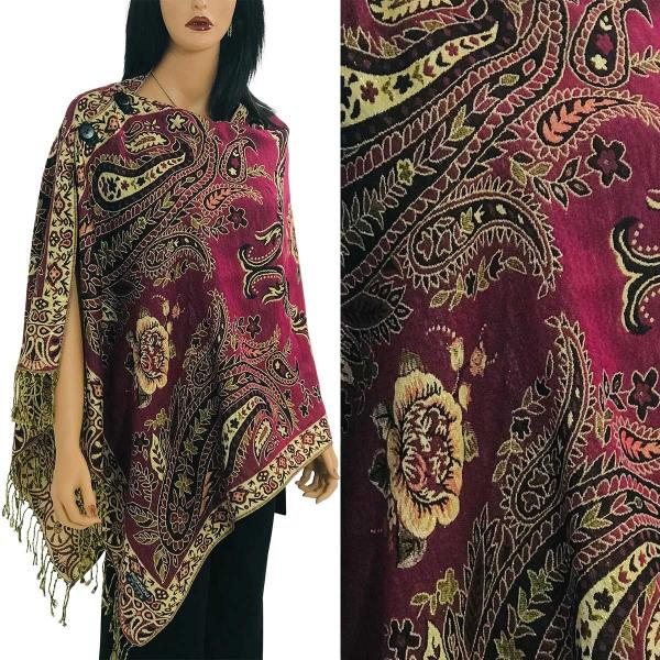 Metallic Print Shawls with Buttons Metallic Paisley Symmetry - Magenta-Beige #33 -