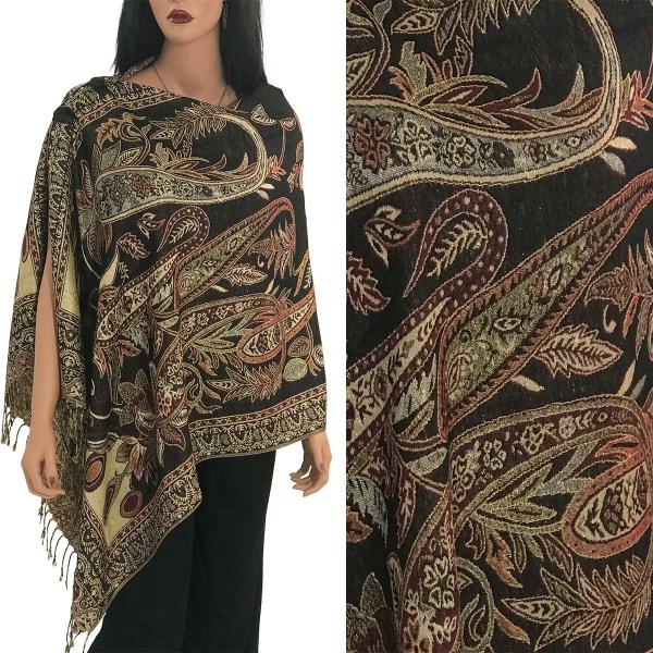 Metallic Print Shawls with Buttons Metallic Paisley Floral - Deep Burgundy-Gold #35 -