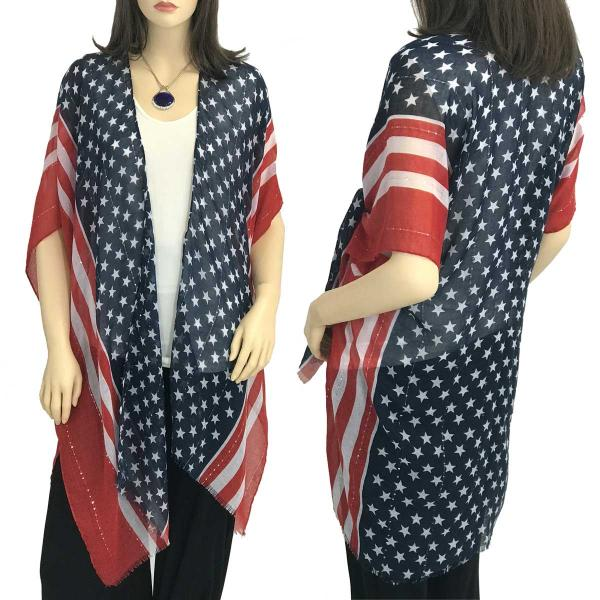 Wholesale American Flag Kimono Vests American Flag 9644 with Sequins -