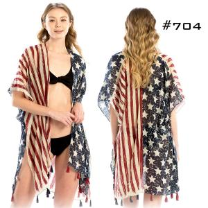 Wholesale  American Flag Kimono with Tassels #704 -