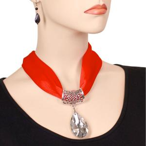Holiday Gift Ideas Satin Magnet Necklace with Pendant - Red -