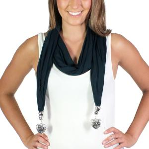Holiday Gift Ideas Fob Pendant Scarf - Black Etched Heart  -