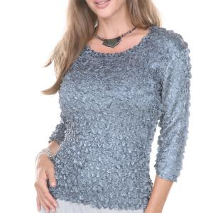Holiday Gift Ideas Satin Petal Shirt with Sequins - Charcoal -