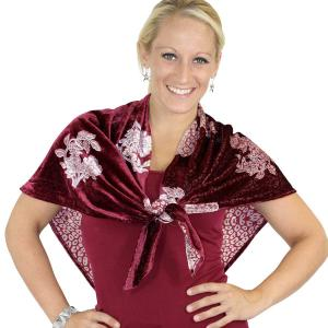 Holiday Gift Ideas Velvet Vintage Rose Triangle Scarf - Wine -