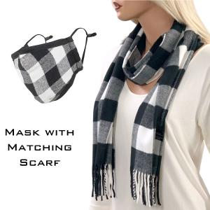 Holiday Gift Ideas Scarf and Mask Set - Buffalo Plaid Black-White - One Size Fits All