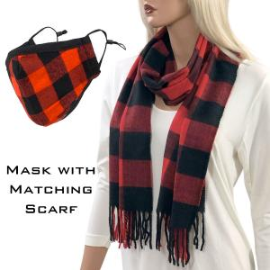 Holiday Gift Ideas Scarf and Mask Set - Buffalo Plaid Red-Black - One Size Fits All