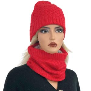 Holiday Gift Ideas LC:HSET RED Hat and Neck Warmer Set w/Fur Lining - One Size Fits All