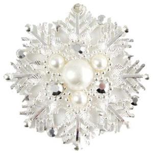 Holiday Gift Ideas 548 Platinum Snow Flake - Magnetic Brooches Artful Design -