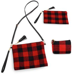 Holiday Gift Ideas 9882 Buffalo Check Red (Three Piece Set) - Crossbody Bags & Coin Purses Plaids -
