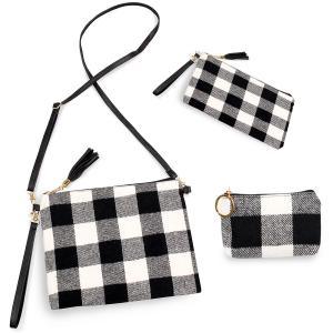 Holiday Gift Ideas 9882 Buffalo Check White (Three Piece Set) - Crossbody Bags & Coin Purses Plaids -