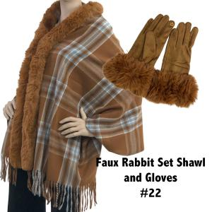 Holiday Gift Ideas Shawl and Gloves Set - Camel 22 - One Size Fits All