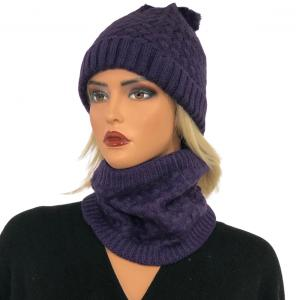 Holiday Gift Ideas LC:HSET PURPLE Hat and Neck Warmer Set w/Fur Lining - One Size Fits All