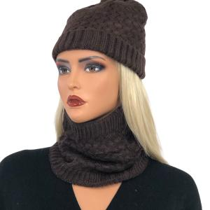 Holiday Gift Ideas LC:HSET BROWN Hat and Neck Warmer Set w/Fur Lining - One Size Fits All