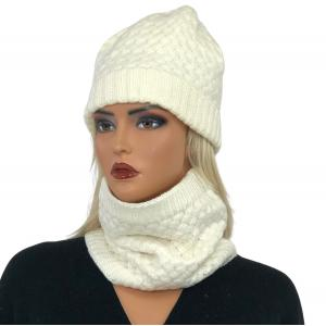 Holiday Gift Ideas LC:HSET IVORY Hat and Neck Warmer Set w/Fur Lining - One Size Fits All