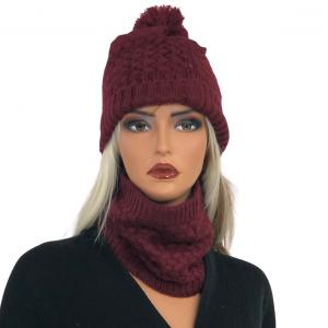 Holiday Gift Ideas LC:HSET BURGUNDY Hat and Neck Warmer Set w/Fur Lining - One Size Fits All