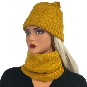 Holiday Gift Ideas LC:HSET MUSTARD Hat and Neck Warmer Set w/Fur Lining - One Size Fits All
