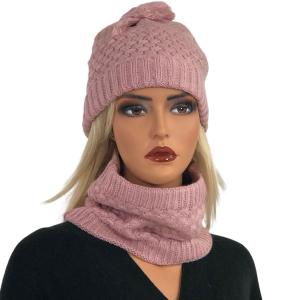 Holiday Gift Ideas LC:HSET DUSTY PINK Hat and Neck Warmer Set w/Fur Lining - One Size Fits All
