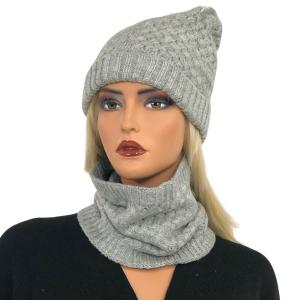 Holiday Gift Ideas LC:HSET SILVER Hat and Neck Warmer Set w/Fur Lining - One Size Fits All
