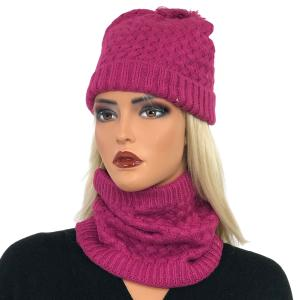 Holiday Gift Ideas LC:HSET MAGENTA  Hat and Neck Warmer Set w/Fur Lining - One Size Fits All