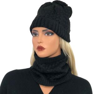 Holiday Gift Ideas LC:HSET BLACK Hat and Neck Warmer Set w/Fur Lining - One Size Fits All