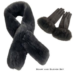 Holiday Gift Ideas CHARCOAL SCARF/GLOVES SET -Faux Rabbit  - One Size Fits All