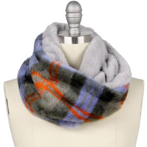 Holiday Gift Ideas 9504 Plaid Grey Faux Fur Cowl Neck Scarf - One Size Fits All