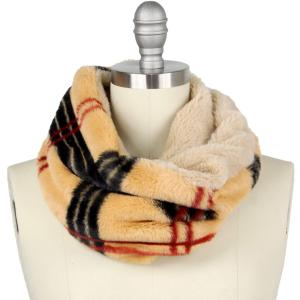 Holiday Gift Ideas 9504 Plaid Beige Faux Fur Cowl Neck Scarf - One Size Fits All